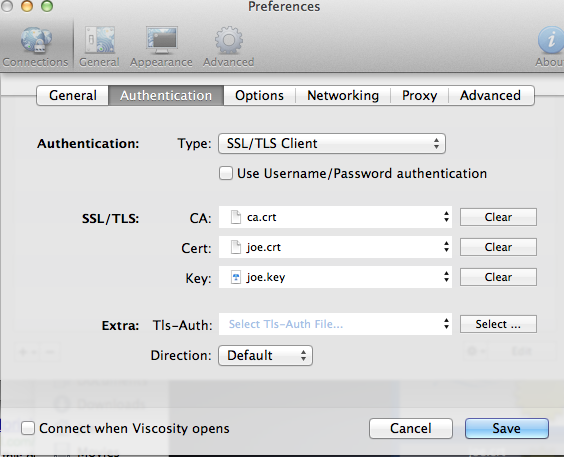 Configure Viscosity Keys